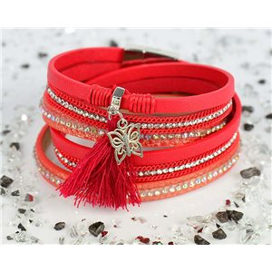 Bracelet manchette Mode Chic aspect Cuir et Strass L38cm fermoir Aimanté New Collection 76290