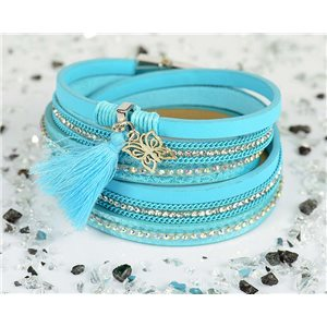 Bracelet manchette Mode Chic aspect Cuir et Strass L38cm fermoir Aimanté New Collection 76291