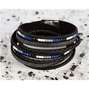 Bracelet manchette Mode Chic aspect Cuir et Strass L38cm fermoir Aimanté New Collection 76293