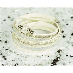 Bracelet manchette Mode Chic aspect Cuir et Strass L38cm fermoir Aimanté New Collection 76300