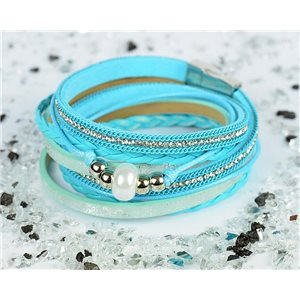 Bracelet manchette Mode Chic aspect Cuir et Strass L38cm fermoir Aimanté New Collection 76303