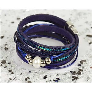 Bracelet manchette Mode Chic aspect Cuir et Strass L38cm fermoir Aimanté New Collection 76304