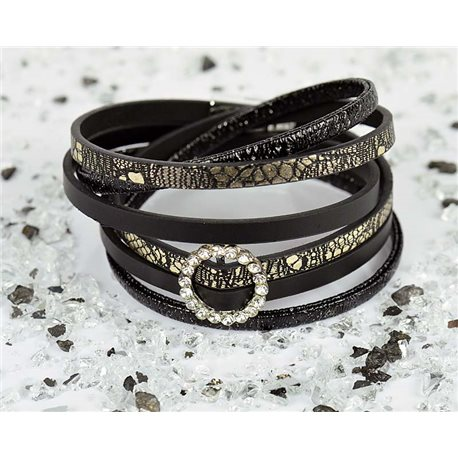 Cuff Bracelet Fashion Chic Leather Look and Rhinestone L38cm Magnetic Clasp New Collection 76305
