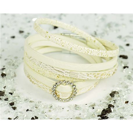 Cuff Bracelet Fashion Chic Leather Look and Rhinestone L38cm Magnetic clasp New Collection 76306