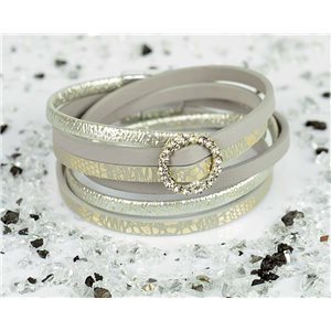 Cuff Bracelet Fashion Chic Leather Look and Rhinestone L38cm Magnetic clasp New Collection 76307