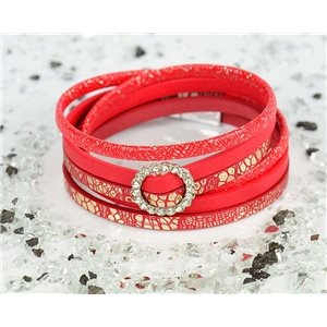 Bracelet manchette Mode Chic aspect Cuir et Strass L38cm fermoir Aimanté New Collection 76308
