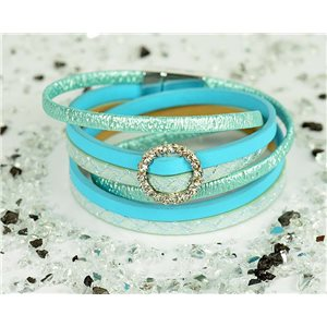 Bracelet manchette Mode Chic aspect Cuir et Strass L38cm fermoir Aimanté New Collection 76309