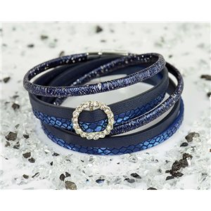 Cuff Bracelet Fashion Chic Leather Look and Rhinestone L38cm Magnetic Clasp New Collection 76310