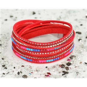Bracelet manchette Mode Chic aspect Cuir et Strass L38cm fermoir Aimanté New Collection 76314