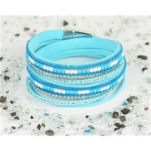 Bracelet manchette Mode Chic aspect Cuir et Strass L38cm fermoir Aimanté New Collection 76315