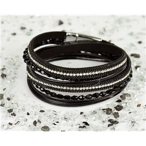 Bracelet manchette Mode Chic aspect Cuir et Strass L38cm fermoir Aimanté New Collection 76316