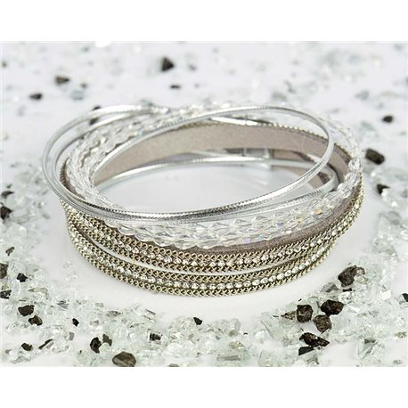 Cuff Bracelet Fashion Chic Leather Look and Rhinestone L38cm Magnetic Clasp New Collection 76318