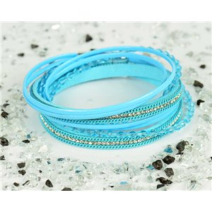 Bracelet manchette Mode Chic aspect Cuir et Strass L38cm fermoir Aimanté New Collection 76320