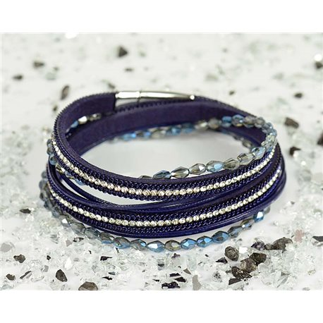 Cuff Bracelet Fashion Chic Leather Look and Rhinestone L38cm Magnetic Clasp New Collection 76321