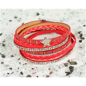 Bracelet manchette Mode Chic aspect Cuir et Strass L38cm fermoir Aimanté New Collection 76326
