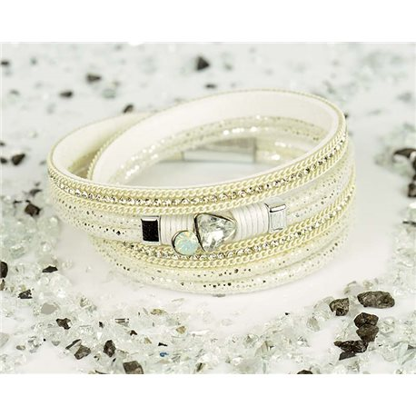 Cuff Bracelet Fashion Chic Leather Look and Rhinestone L38cm Magnetic Clasp New Collection 76329