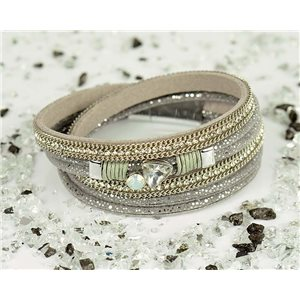 Bracelet manchette Mode Chic aspect Cuir et Strass L38cm fermoir Aimanté New Collection 76330