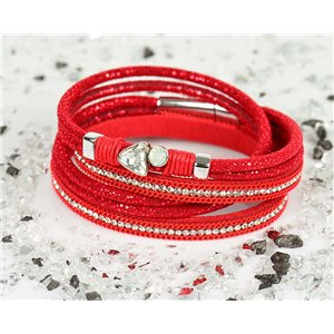 Bracelet manchette Mode Chic aspect Cuir et Strass L38cm fermoir Aimanté New Collection 76331