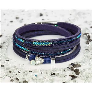 Cuff Bracelet Fashion Chic Leather Look and Rhinestone L38cm Magnetic clasp New Collection 76332
