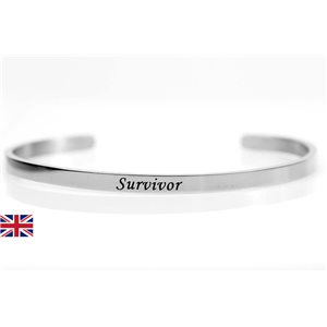 stainless steel message bracelet 76423 Message: Survivor