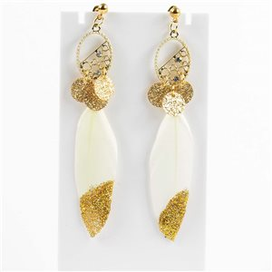 1p Boucles Oreilles Pendantes à clou 9cm Original Collection Plumes 2019 76506