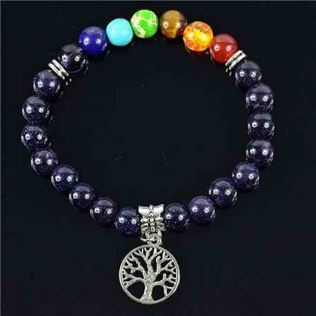 Blue Sandstone Charm Bracelet Charms Collection Tree of Life 76618