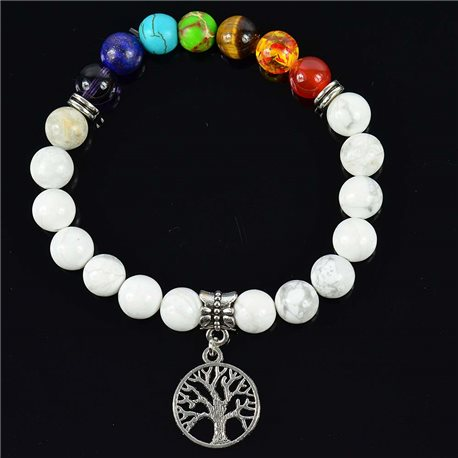 Howlite White Happiness Stone Bracelet Charms Collection Tree of Life 76619