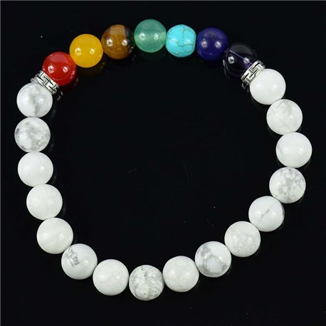 Howlite White Happiness Stone Bracelet Collection 7 Chakras 76629