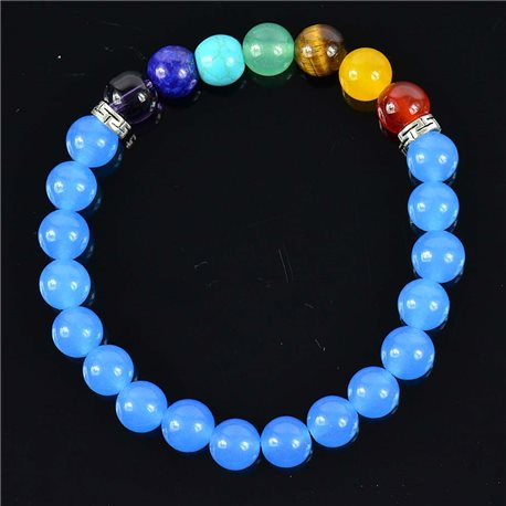 Aventurine Collection Blue Happiness Stone Bracelet Collection 7 Chakras 76631