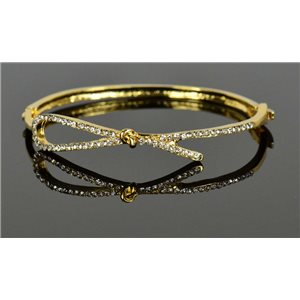 Bracelet métal couleur Doré Collection Chic sertie de Strass D55mm fermoir a clip 76670