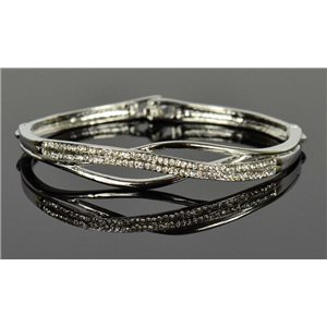 Silver metal bracelet Chic Collection set with Rhinestones D55mm clip clasp 76671