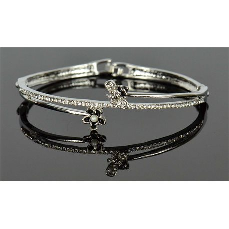 Silver metal bracelet Collection Chic set with Rhinestones D55mm clip clasp 76653