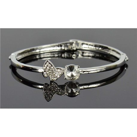 Silver metal bracelet Collection Chic set with Rhinestones D55mm clip clasp 76655