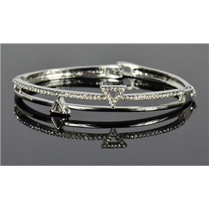 Silver metal bracelet Chic Collection set with Rhinestones D55mm clip clasp 76661
