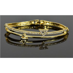 Gold colored metal bracelet Chic Collection set with Rhinestones D55mm clip clasp 76662