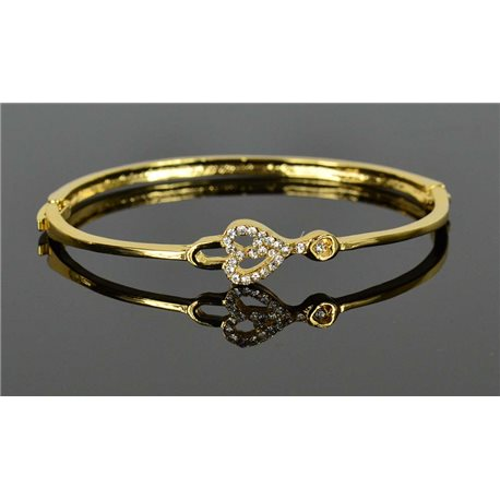 Gold colored metal bracelet Chic Collection set with Rhinestones D55mm clip clasp 76664