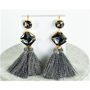 1p Boucles Oreilles Pendantes à clou 8cm New Collection Pompon 76693