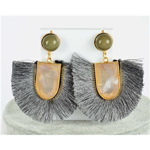 1p Earring Drop Earrings 7.5cm New Collection Pompom 2019 76701