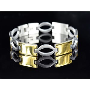 Bracelet gourmette en Acier Inoxydable Collection 2019 Gold & Silver 12mm 22cm 76642