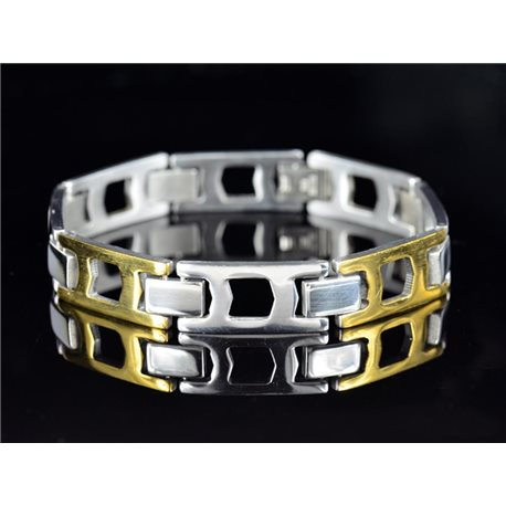 Bracelet gourmette en Acier Inoxydable Collection 2019 Gold & Silver 12mm 21.5cm 76637