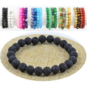 Bracelet Beads 8mm Lava Stone on elastic thread 76880