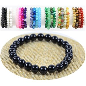 8mm Black Agate Stone Beads Bracelet on Elastic Thread 76881