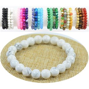 8mm White Howlite Stone Bead Bracelet with Elastic Thread 76883