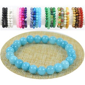 Bracelet Beads 8mm Calcedony stone on elastic thread 76890