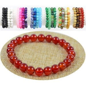 Pearl beads 8mm carnelian stone on elastic thread 76903