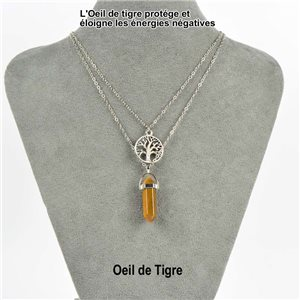 Necklace Door Happiness Pendant 30mm Stone Eye of Tiger on silver chain 76923