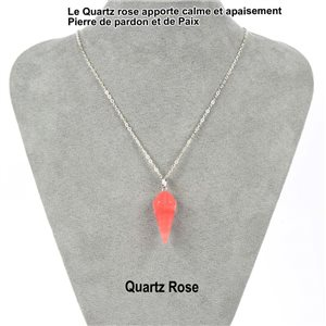 Necklace Pendulum Pendant 30mm Rose Quartz Stone on silver chain 76914