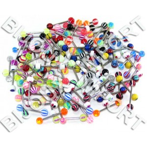 Lot de 100 Piercing Langue Acier 316L D1.6mm L16mm 43121