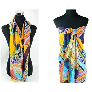 Foulard Paréo voile polyester 140cm-90cm New Collection Eté 77083