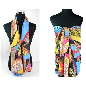 Foulard Paréo voile polyester 140cm-90cm New Collection Eté 77084